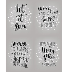 Set of hand calligraphic winter holidays quotes vector