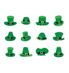 Set of leprechaun hats St Patricks Day symbol vector
