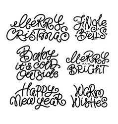 set of typical christmas new year winter quotes vector image