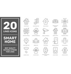 set smart house related line icons vector image