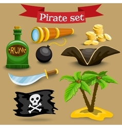 Set with pirate simbols vector