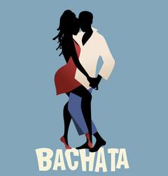 Silhouette couple dancing bachata vector