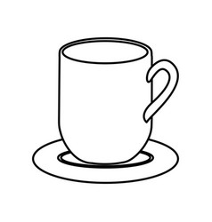 silhouette dish porcelain with mug vector image