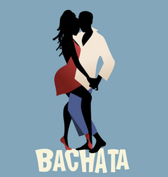 Silhouette of couple dancing bachata vector