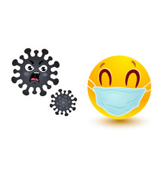smile in medical mask and angry coronavirus vector image