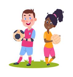 sport children cute cartoon boy girl with balls vector image