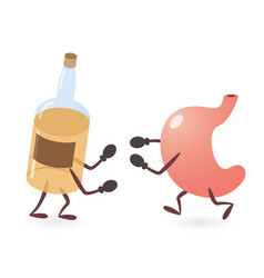 Stomach and alcoholic drink bottle fighting vector