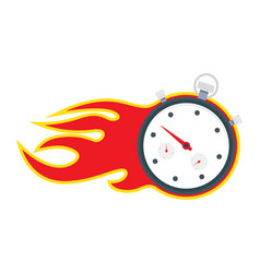 Stopwatch with fire frame vector