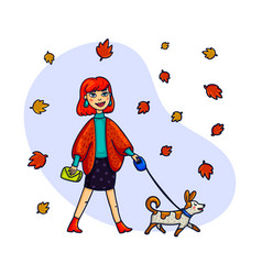 stylish woman walking with a dog vector image