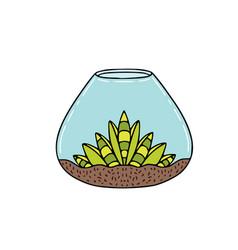 Succulent in glass container sticker design vector