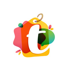 t letter logo with sale tag icon watercolor vector image