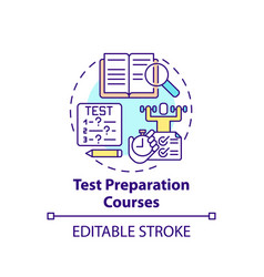Test preparation courses concept icon vector