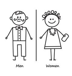 toilet door plate icon men and women wc sign vector image