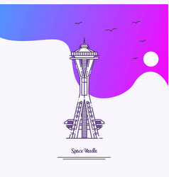 travel space needle poster template purple vector image