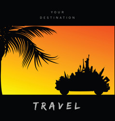 Travel symbol famous paradise color vector