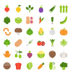 Vegetable icon set flat style vector