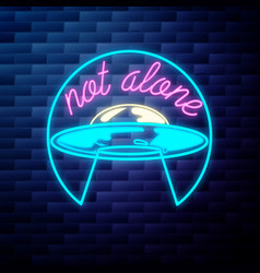 vintage space ufo emblem glowing neon sign vector image