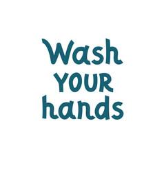 Wash your hands often doodle lettering hand vector