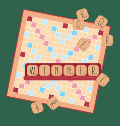wooden game words from tile letters winner vector image