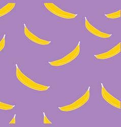 yellow ripe bananas on purple background seamless vector image