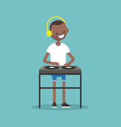 Young black man wearing headphones and scratching vector