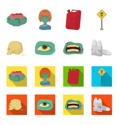 zombies and attributes cartoonflat icons in set vector image