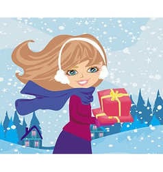 girl with gift box vector image vector image