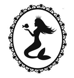 mermaid and fish in a black frame vector image