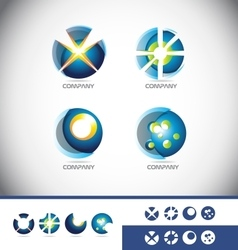 Sphere 3d logo icon set vector image vector image