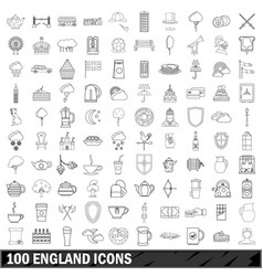 100 england icons set outline style vector