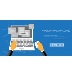 flat concept of programming and coding vector image vector image