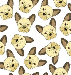 Seamless background with cute beige bulldog sketch vector image