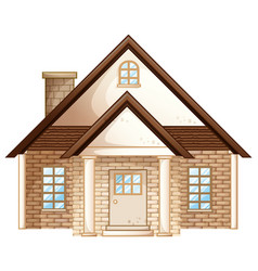 Brick house with brown roof vector