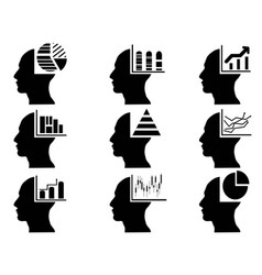 business head with statistics icons set vector image vector image