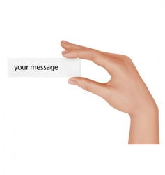 hand with message vector image vector image