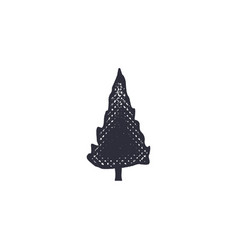 monochrome tree shape icon vintage hand drawn vector image vector image