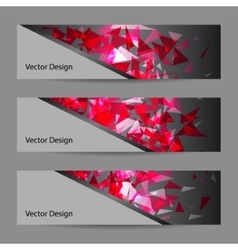 Set of banners with polygonal background vector image