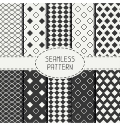 Set of geometric monochrome seamless pattern with vector image vector image