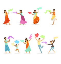 smiling people dancing in national indian costumes vector image vector image