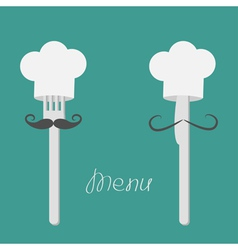 Two forks with big mustaches and chefs hats Menu vector image