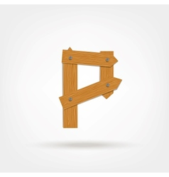 Wooden Boards Letter P vector image