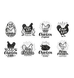 chicken poultry farm label set food meat egg vector image vector image