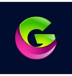 G letter green and pink logo design template vector image vector image