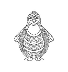 hand drawn penguin vector image