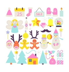 Happy new year cute objects vector