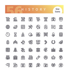 history line icons set vector image vector image