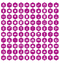 100 adult games icons hexagon violet vector image
