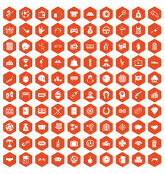100 gambling icons hexagon orange vector