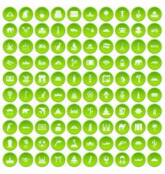 100 world tour icons set green vector