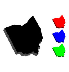 3d map of ohio vector